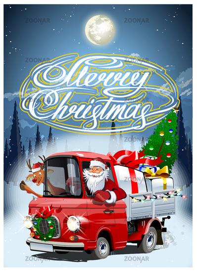 Vector Christmas card with cartoon retro Christmas truck
