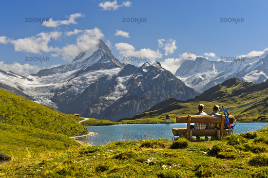 At the mountain lake Bachalpsee, Grindelwald, Bernese Oberland, Switzerland