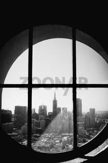 Black and White San Francisco Through Window Porthole City Landscape California