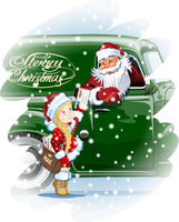 Christmas card with Santa and Snow Maiden-Postman