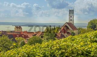 Meersburg am Bodensee mit Burg und Katholischer Stadtpfarrkiche