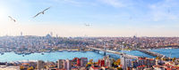 Metro bridge, the Ataturk Bridge and the skyline of Fatih district, Istanbul panorama