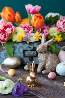 Froehliche Dekoration zu Ostern