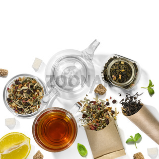 Picking of herbs, berries, tea and accessories. Top view on white background