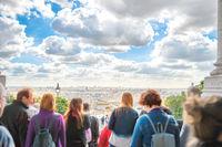 People looking to Paris from Montmartr