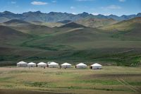 Yurts between montains in Mongolia