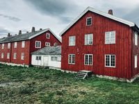 Scandinavian house row in classic Swedish red