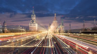 Russia, Moscow. view on Moscow Kremlin at night. Abstract scene with tracks of street lights.