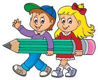 Children holding big pencil image 1
