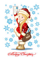 Vector Christmas card with Snow Maiden - Postman