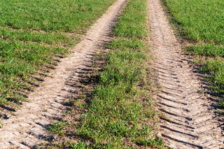 tracks from a tractor on the ground, tracks from a crawler tractor