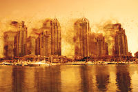 Digital Painting Concept - Dust Storn in Dubai Marina, United Arab Emirates