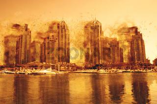 Digital Painting Concept - Dust Storn in Dubai Marina, United Arab Emirates