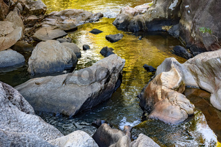 Small creek with clear and yellow waters running through the rocks