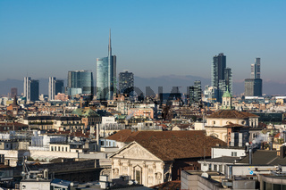 Milan Business District Landscape View Mountain Alps Winter 2016 Blue Skies Clear Weather Sunset