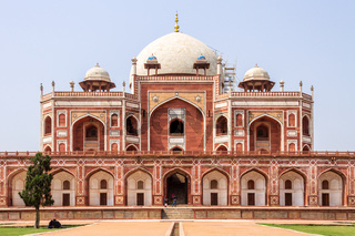 Main Building of Humayun's Tomb Complex with square, park and vegetation. UNESCO World Heritage in Delhi, India. Asia.