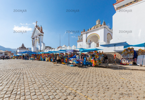 Bolivia Copacabana market on the 2nd February square