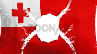 Tonga flag with a hole