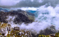 dark clouds, view from Table Mountain, Cape Town, South Africa