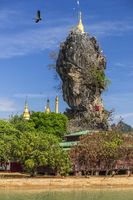 Amazing Buddhist Kyauk Kalap Pagoda under blue sky, Hpa-An