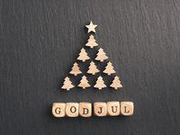 God Jul, Scandinavian Merry Christmas with a Christmas tree shape