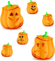 Set of halloween pumpkins with variations of illumination, part 16