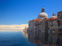 Concept of sea level rise in Venice in the future as climate change happens