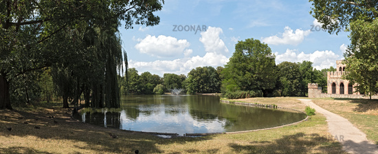 The castle park Biebrich with pond and Mosburg Wiesbaden