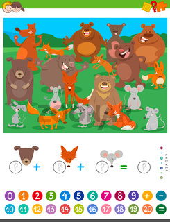 counting and adding game with cartoon animals