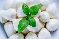 mozzarella balls with basilica. Flat lay. Food concept. Flat lay. Food concept. Healthy and wholesome food