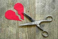 Broken red heart cuted by scissor