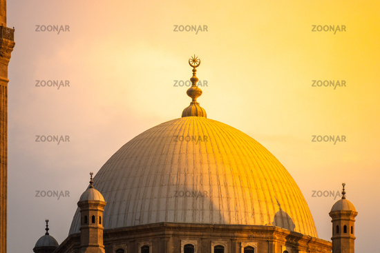 The Mosque of Muhammad Ali in Cairo Egypt at sunset