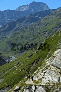 Wandern im Tal Val de Bagnes, Wallis, Schweiz