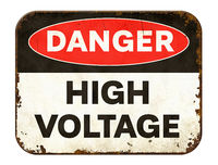 Vintage tin danger sign on a white background - High voltage