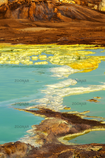 Salt structures in an acid brine pool, geothermal field of Dallol, Ethiopia