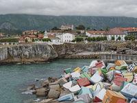 Cubos de la memoria at Llanes port Asturias Spain