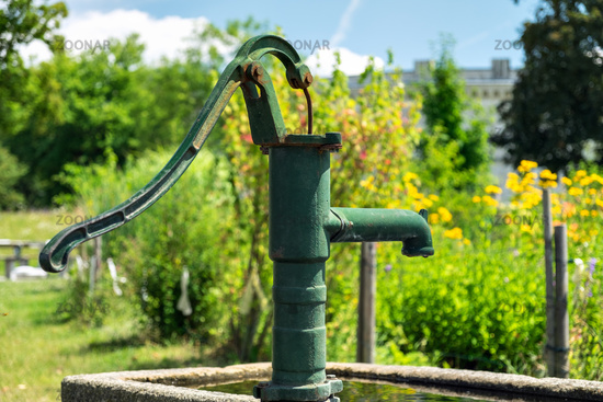 Manual water pump at Klenze Park in Ingolstadt