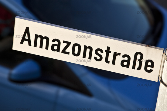 Amazon Street, road sign at the logistics center, Rheinberg, North Rhine-Westphalia, Germany, Europe