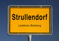 Entrance sign of Strullendorf, municipality in the district of Bamberg, Bavaria, Germany, Europe