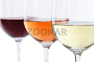 Wein Gläser Weingläser Weißwein Rotwein Rose selektiver Fokus freigestellt Freisteller