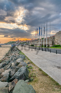 Harbor port in Nessebar ancient city at sunrise, one of the major seaside resorts on the Bulgarian Black Sea Coast. Nesebar or Nesebr is a UNESCO World Heritage Site. Harbor at sunrise in Nessebar