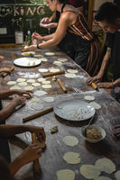 Dumpling making class in China