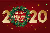 Happy New Year 2020 text design. Vector greeting illustration with and Christmas wreath on red background.