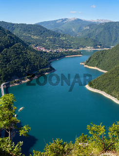 Piva Lake (Pivsko Jezero) view in Montenegro.