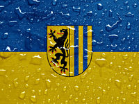 flag of Leipzig with rain drops