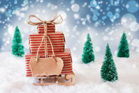 Sled, Present, Snow, Copy Space, Blue Background