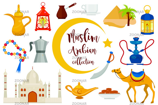 Muslim arabic flat icon set, cartoon style. Collection of arabic design elements with camel, rosary, mosque, hookah, lantern. Vector illustration
