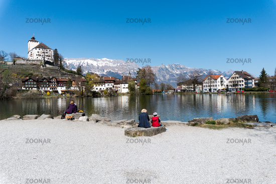 Werdenberg, SG / Switzerland - March 31, 2019: tourists enjoy a visit to idyllic and historic Werden