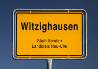 Entrance sign of Witzighausen, district of the city of Senden, Bavaria, Germany, Europe
