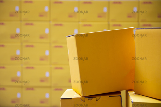 Yellow transportation boxes packages
